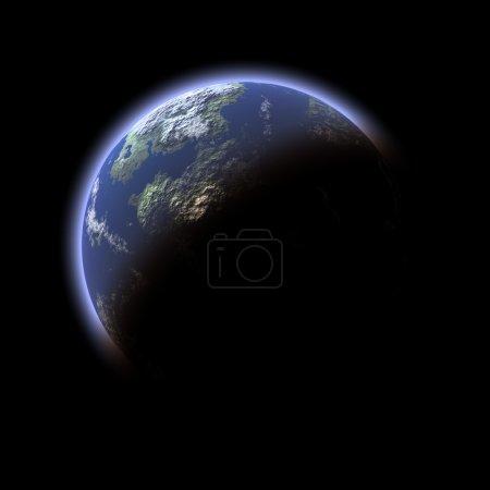 Photo pour Planète terrestre générée par ordinateur sur fond noir - image libre de droit