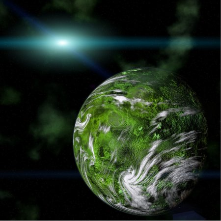 Green planet on galactic background