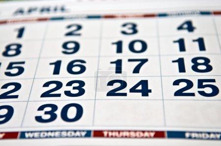 Photo pour Page calendrier macro - image libre de droit