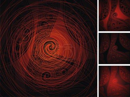 Illustration pour Rouge fond noir avec l'ornement - image libre de droit