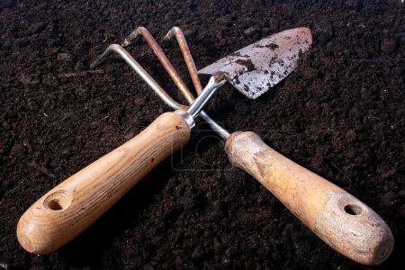 Small rake and shovel