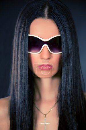 Photo for White glasses and pink lips, closeup shot - Royalty Free Image