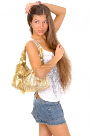 Girl with golden purse