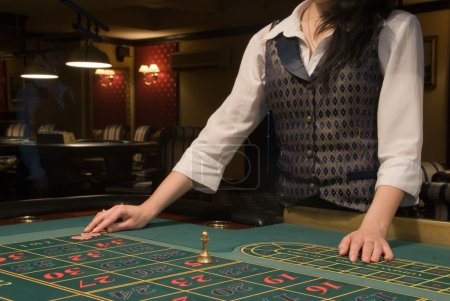 Close-up view of roulette table in modern casino...