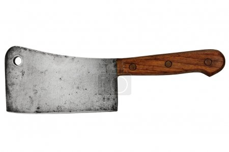 Vintage meat cleaver isolated over white backgroun...