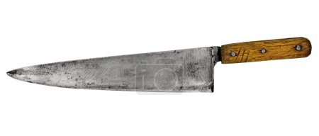 Photo for Vintage chef kitchen knife isolated over white - Royalty Free Image