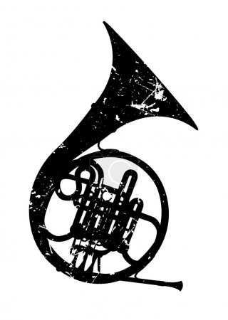 Illustration for The vector image of a wind musical instrument a french horn - Royalty Free Image