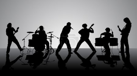 Rock band. Silhouettes of six musicians. Vector il...