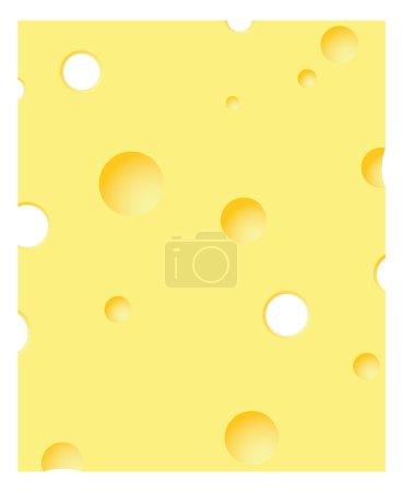 Illustration pour Tranche de fromage sur fond blanc - image libre de droit