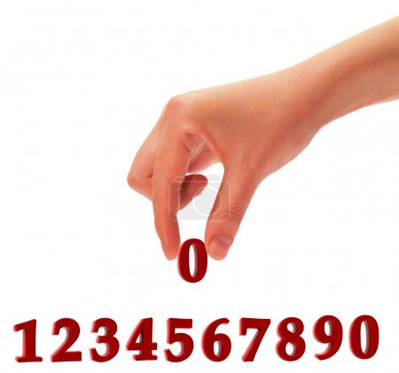 Photo for Hand which holds figure zero. The image is presented on a white background. - Royalty Free Image