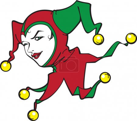 Illustration for The girl - a joker in a cap with jingles. - Royalty Free Image