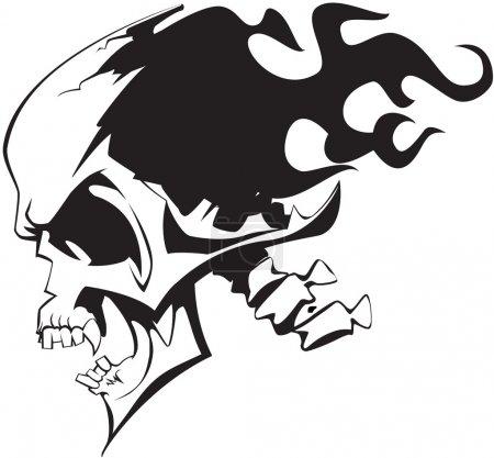 Illustration pour Crâne flamboyant sur fond blanc - image libre de droit