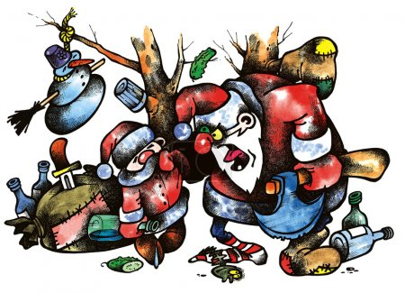 Photo for Cartoon illustration of drunked old and yong santas - Royalty Free Image