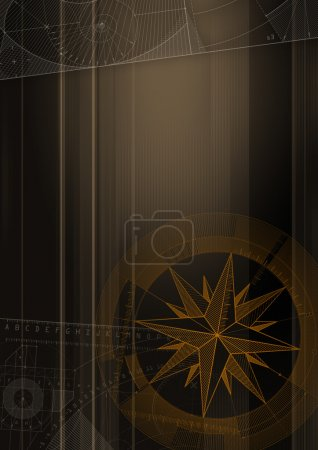 Photo for Computer generated abstract background with wind-rose and technical draft. - Royalty Free Image