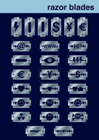 Razor blades icons set