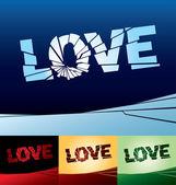 Vector illustration of a broken word love