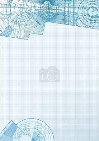 Illustration pour Illustration vectorielle d'un fond technique avec élément carré en papier . - image libre de droit
