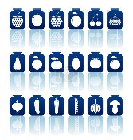 Illustration for Set of a vector tinned goods icons. - Royalty Free Image