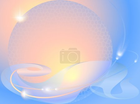 Illustration for Abstract background with sunlight, planet and stars - Royalty Free Image