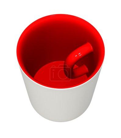 Photo pour Modèle en trois dimensions - un mug avec la poignée à l'intérieur et les couleurs inversées. - image libre de droit