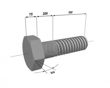 Photo pour Modèle en trois dimensions d'un boulon en métal avec les tailles désignés. - image libre de droit
