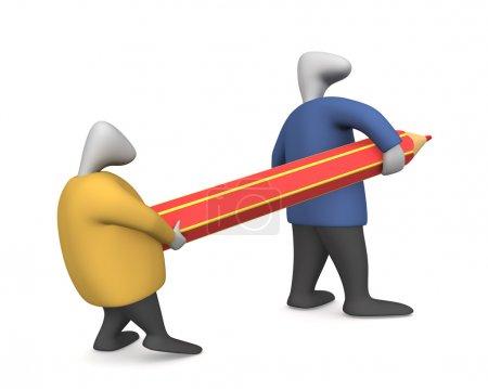 Photo pour Image tridimensionnelle - deux hommes, faites glisser le crayon. - image libre de droit