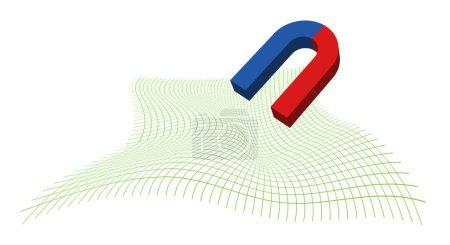 Ilustración de Deformación de una cuadrícula de coordenadas bajo la influencia de un campo magnético - Imagen libre de derechos