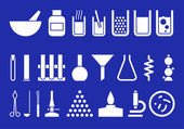 Silhouettes of chemical ware devices and reagents