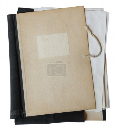 Photo for Old folder with stack of old papers isolated on white background with clipping path - Royalty Free Image