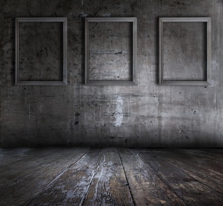 Photo for Old grunge interior with picture frames - Royalty Free Image