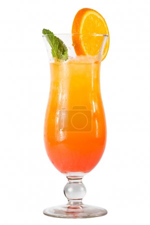Photo for The glass of orange cocktail with ice, leaf of mint and orange slice, white background - Royalty Free Image