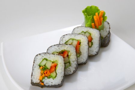Vegetarian rolls on plate