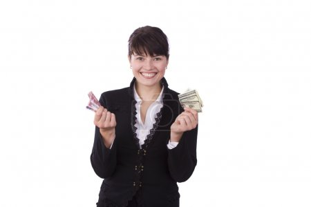 Businesswoman holding a money and smilin
