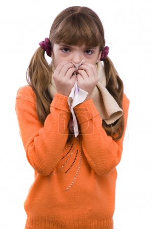 Sneezing.Girl sick and have sore throat
