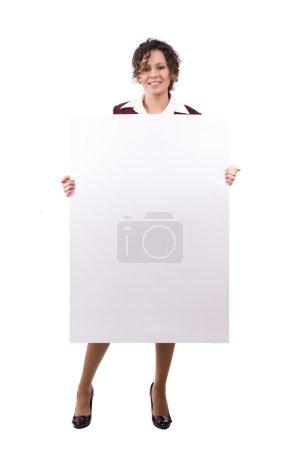 Businesswoman is holding billboard.