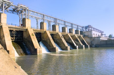 Dam with flowing water...