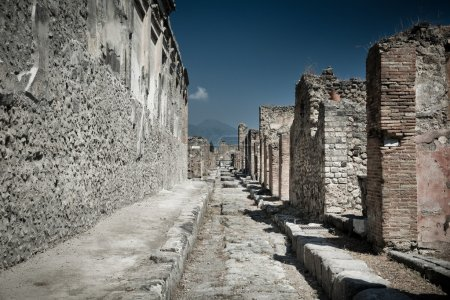 Ancient stone ruins in Pompeii Italy