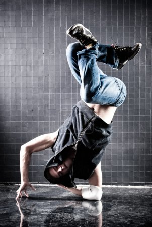 Photo for Young man modern dance. Contrast colors. - Royalty Free Image