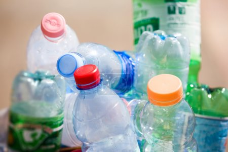 Photo for Plastic bottles in a refuse bin. - Royalty Free Image