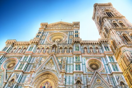 Duomo cathedral in Florence Italy front view. Draw...