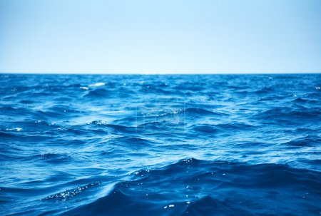 Photo for Blue sea waves closeup view. - Royalty Free Image