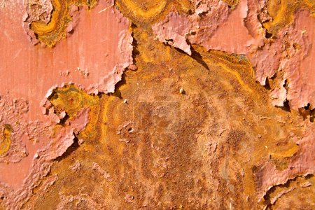 Rusty metal surface with pieces of paint