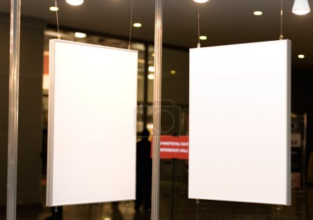 Photo for Two empty picture frames on exhibition. Good for some text or pictures. - Royalty Free Image