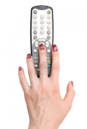 Woman hand and tv remote control