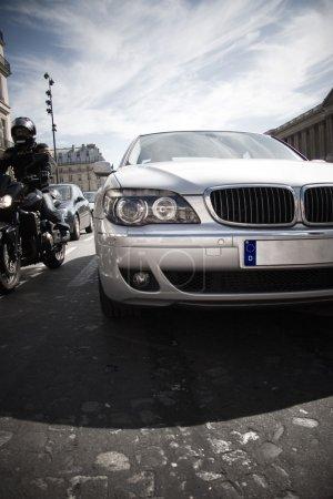 Modern car front bumper closeup