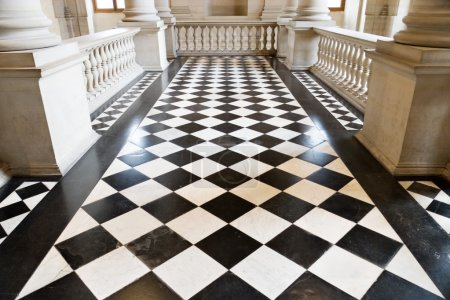 Photo for Chequer floor in museum. Wide angle view. - Royalty Free Image