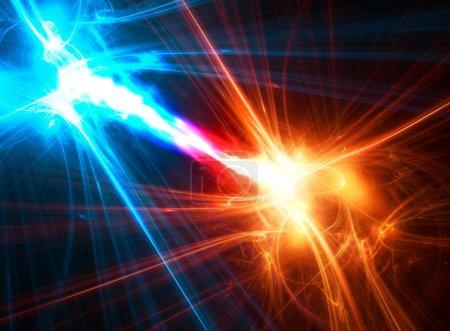 Photo pour Boules fractales abstraites avec flux d'énergie entre elles . - image libre de droit