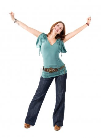 Young happy stretching woman