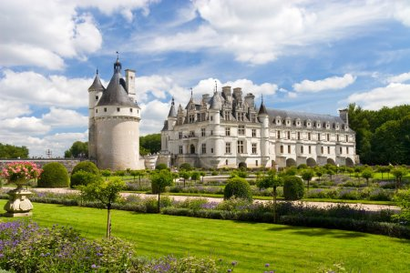 Photo for Chenonceaux castle in France. Wide angle view. - Royalty Free Image