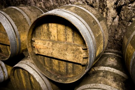 Wine barrels closeup
